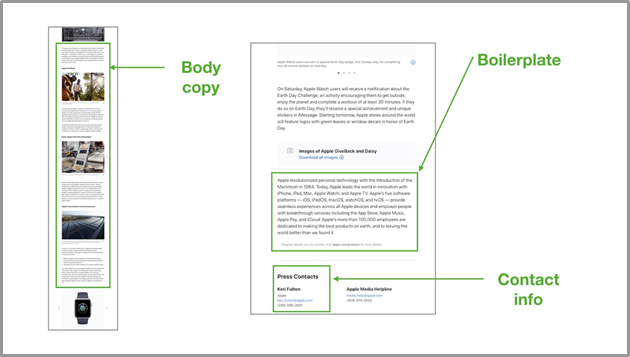 Body copy, boilerplate, and contact info screenshots of the apple press release