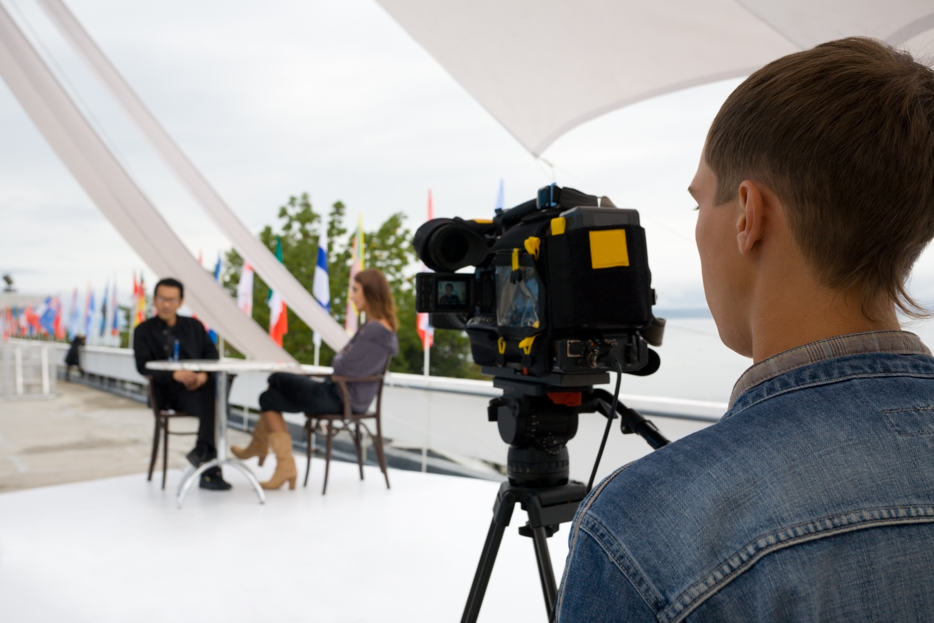 Journalist making an interview