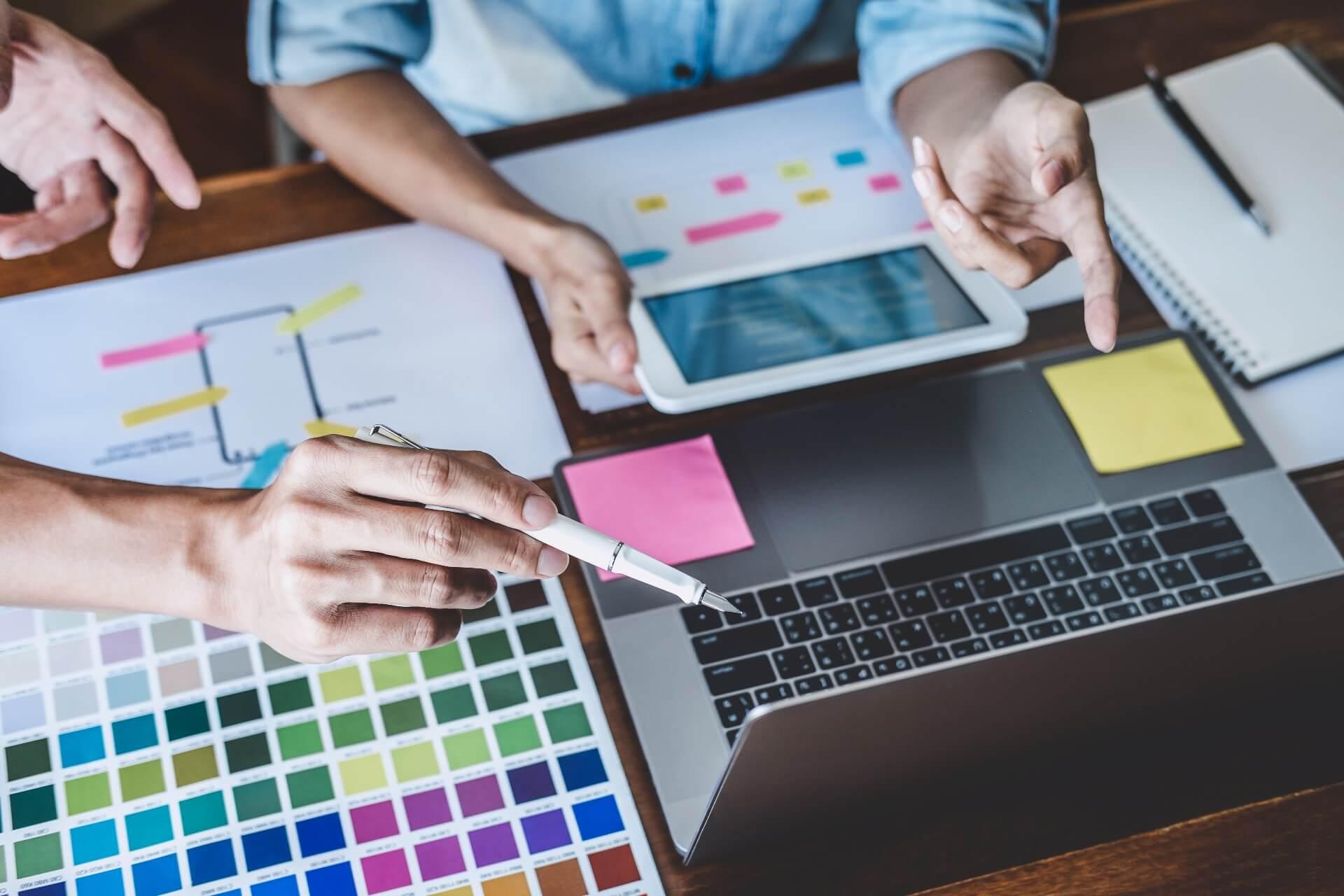 Designers choosing colors