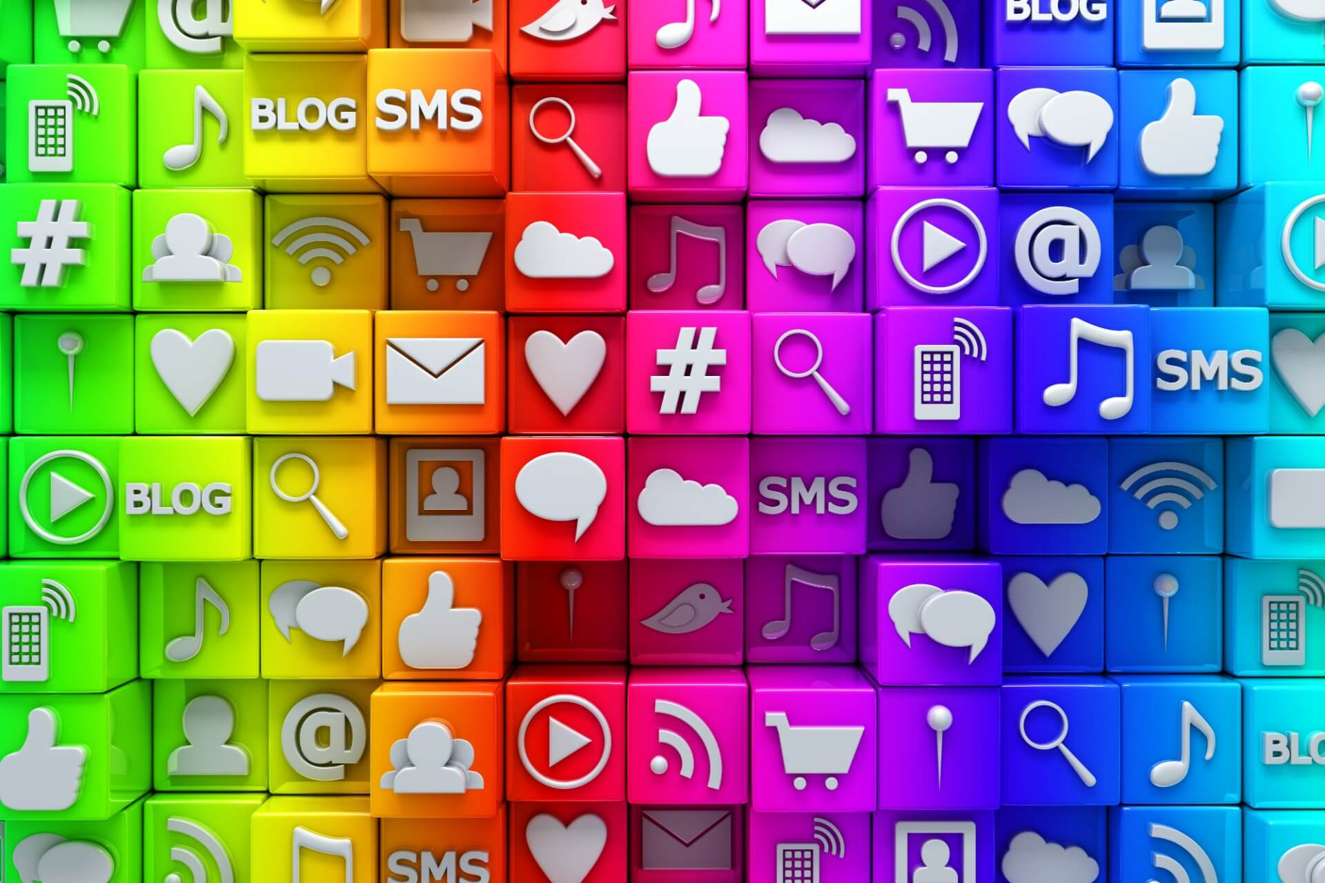 Color blocks with social media icons