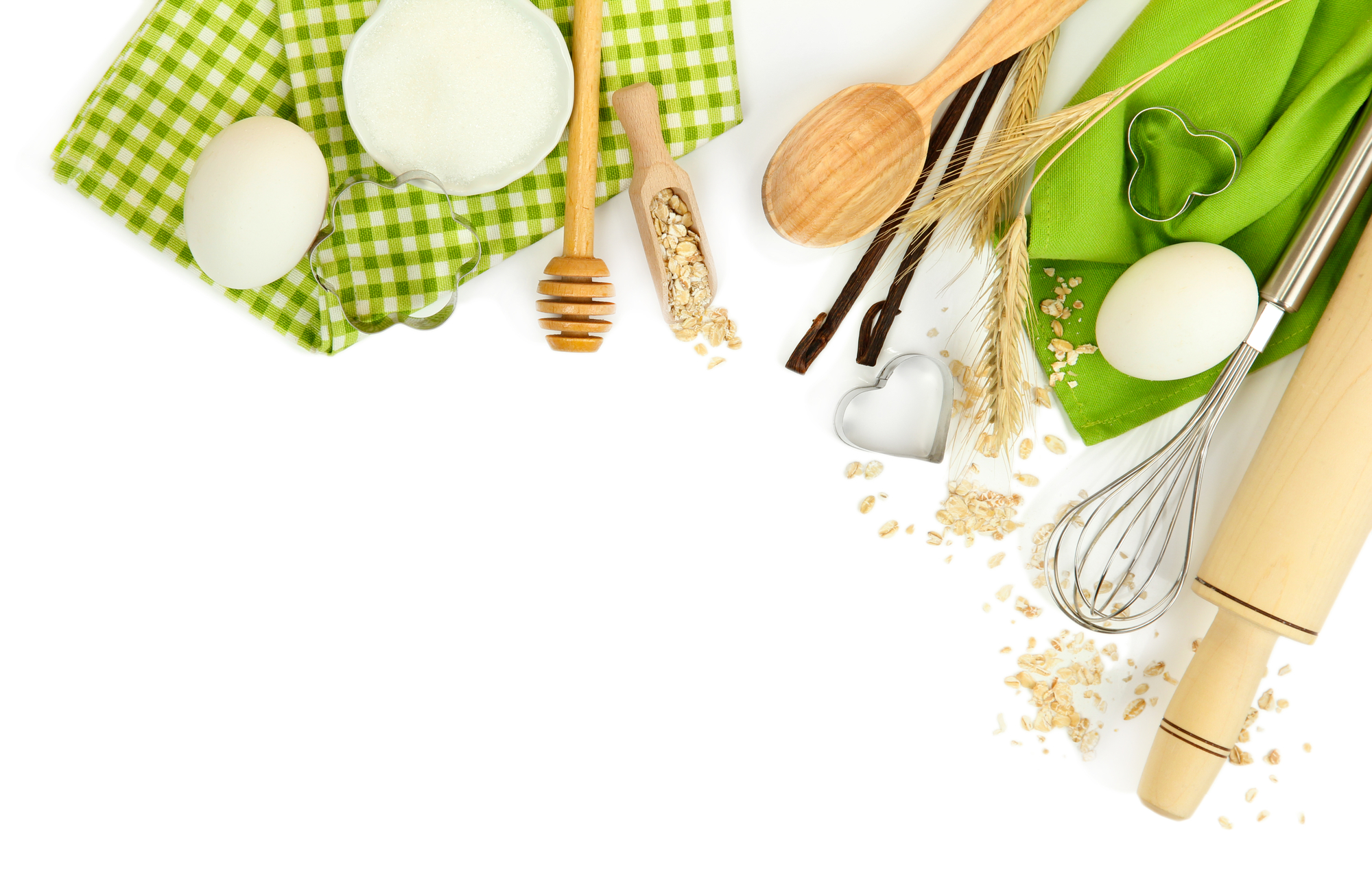 Cooking concept. Basic baking ingredients and kitchen tools isolated on white