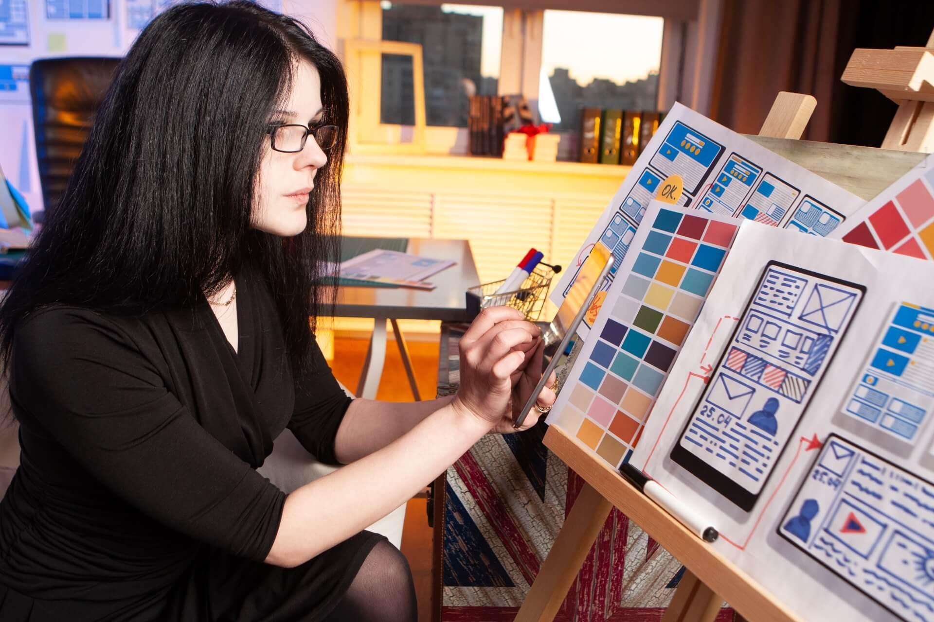 Woman selecting designs