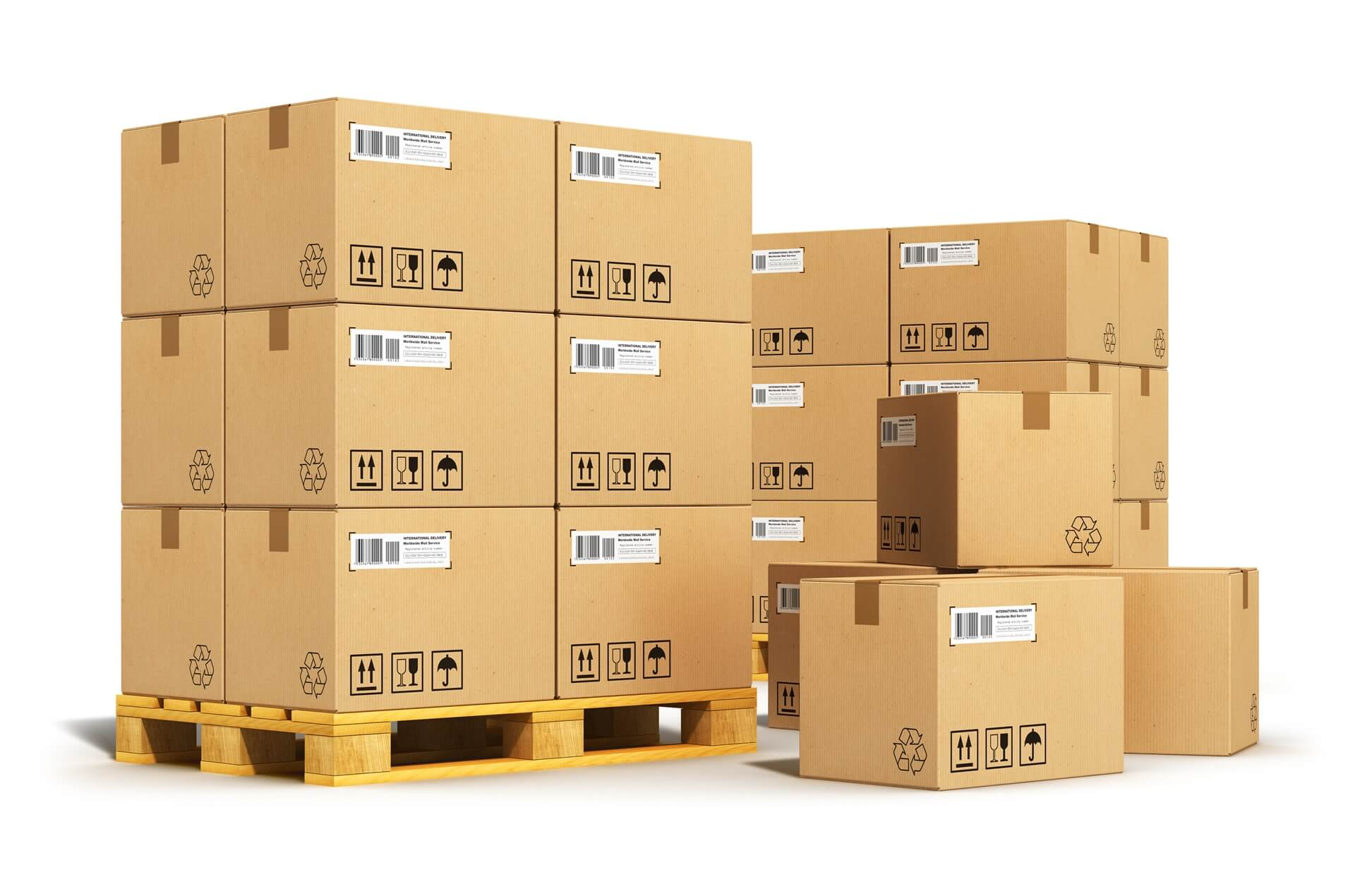 Shipping boxes piled up