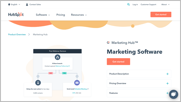 Hubspot webpage screenshot