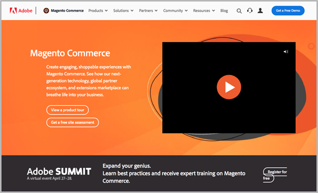 Magento website screenshot