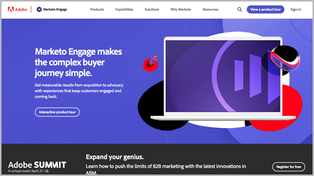 Marketo website screenshot