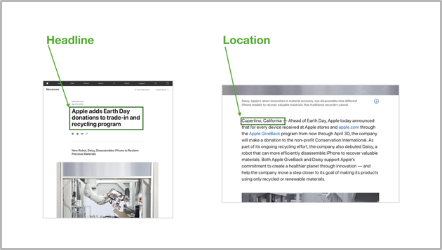Headline and location screenshots of the apple press release