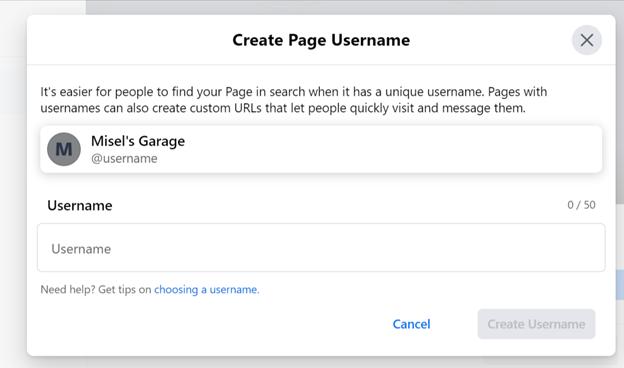 Creating your Username