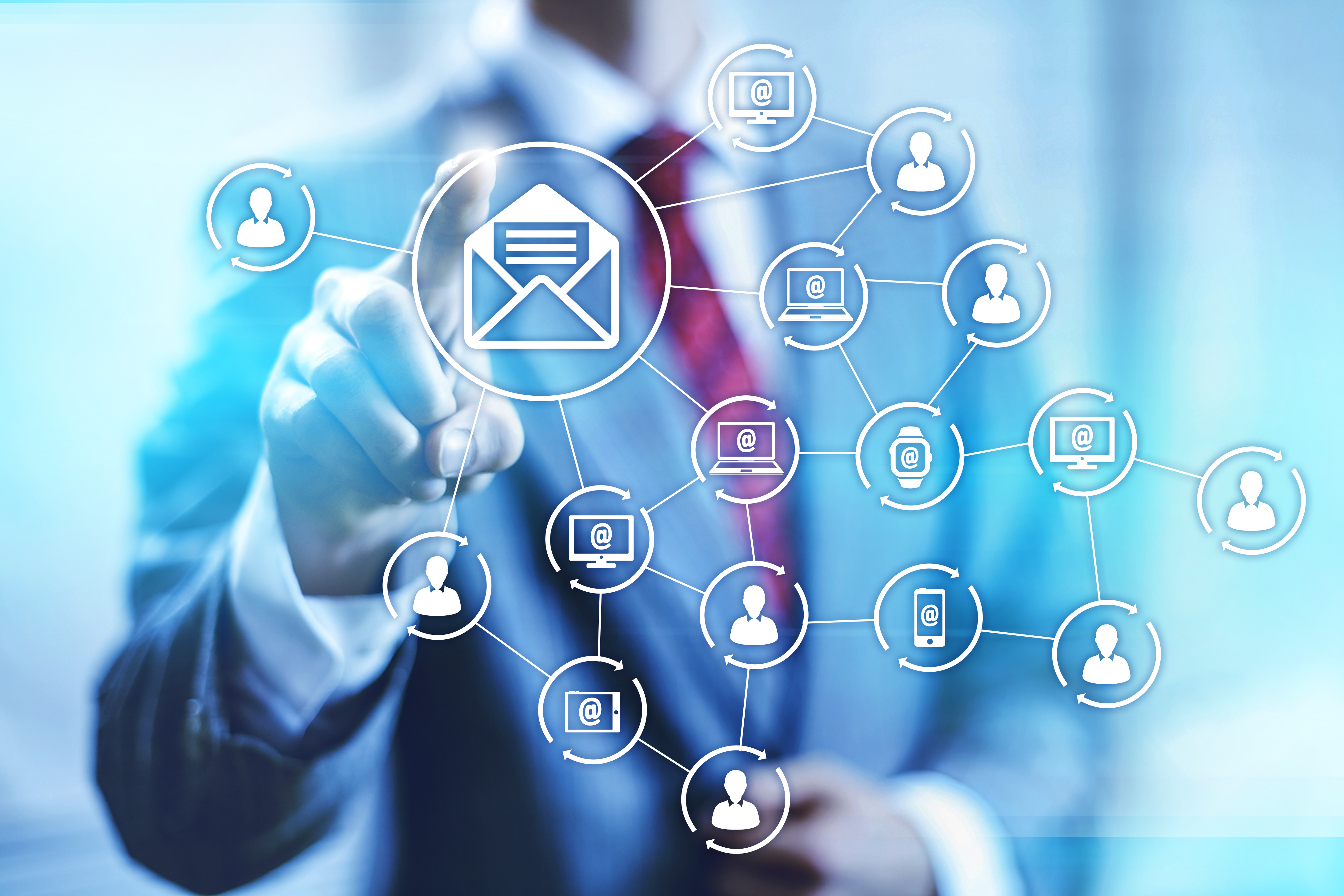 Email marketing business concept connectivity illustration
