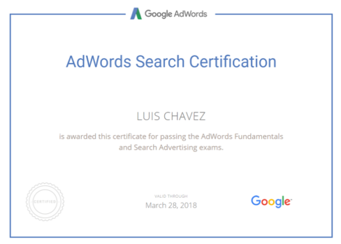 adwords search certification Luis Chavez