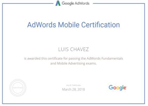 adwords mobile certification Luis Chavez