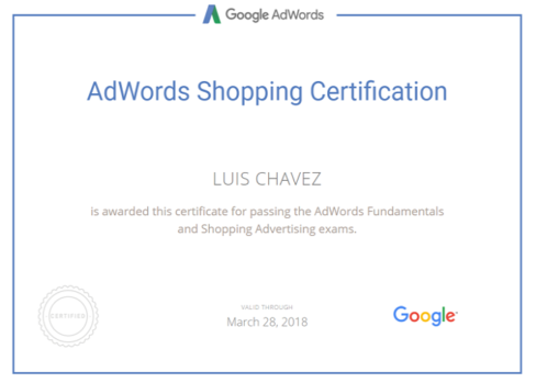 adwords shopping certification Luis Chavez