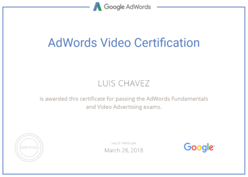 adwords video certification Luis Chavez