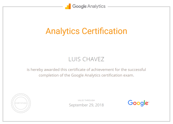 analytics certification Luis Chavez