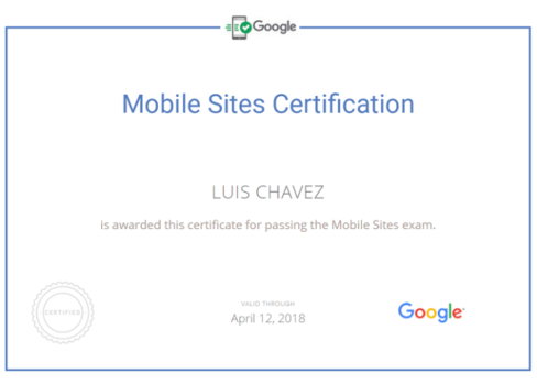 mobile site certification Luis Chavez