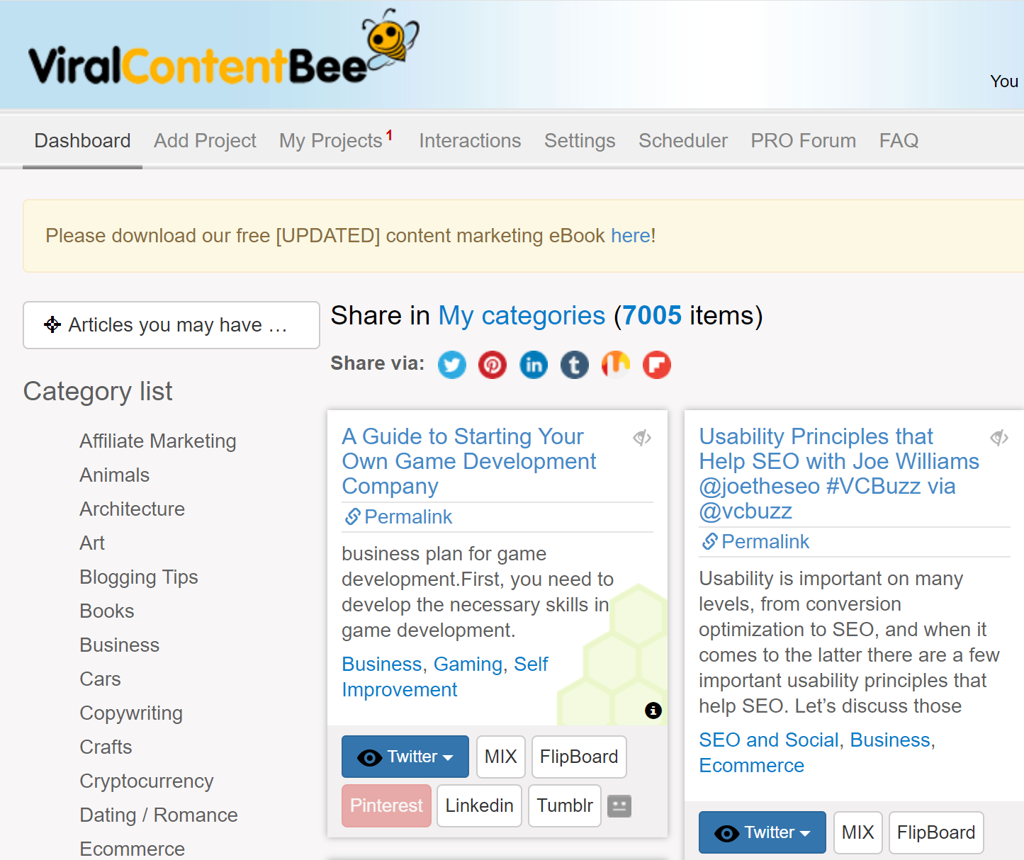 Online Marketing ViralContentBee Example