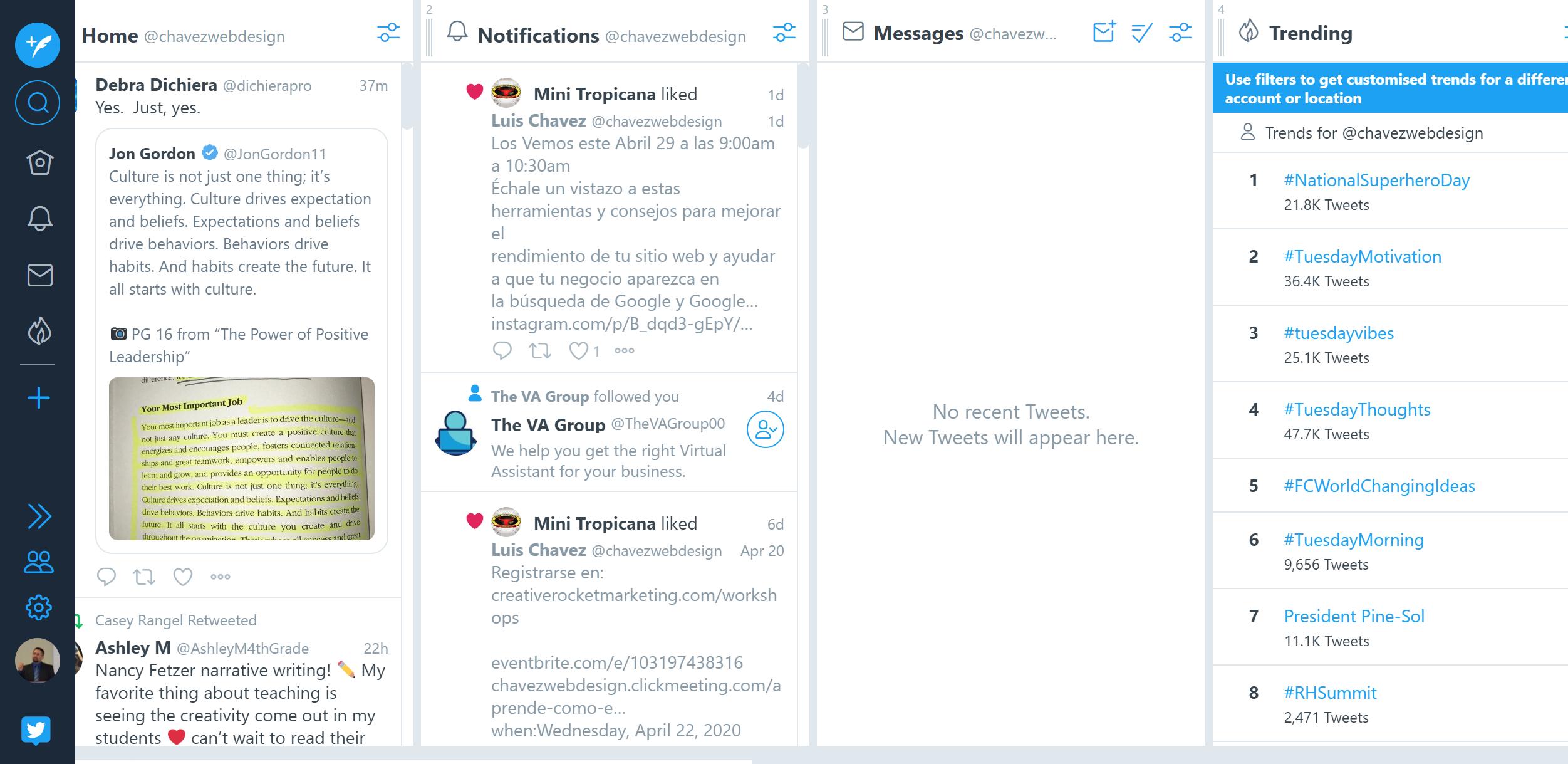Tweetdeck Homepage