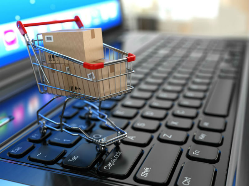 e-commerce shopping cart on keyboard