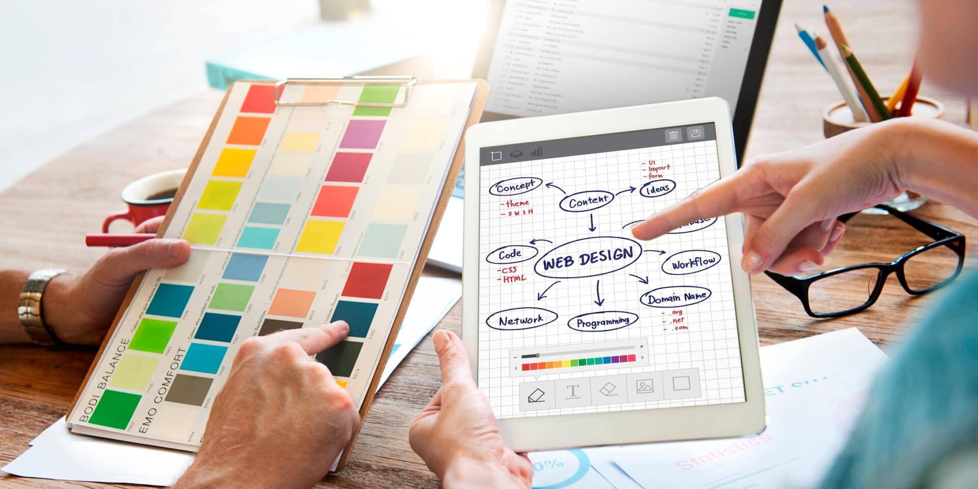 Web designers choosing colors