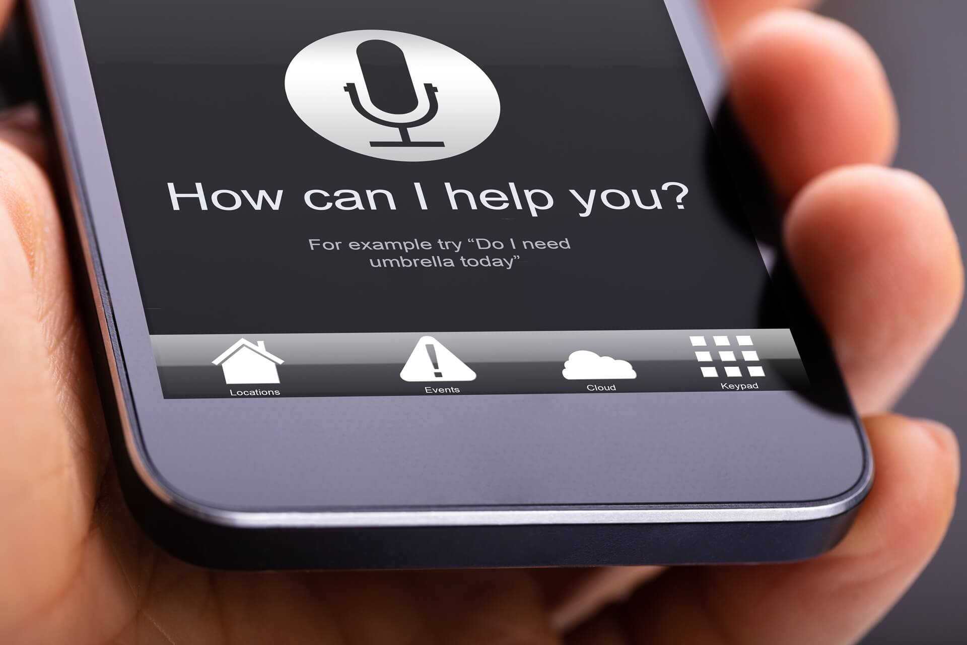 Voice search screen on a smartphone