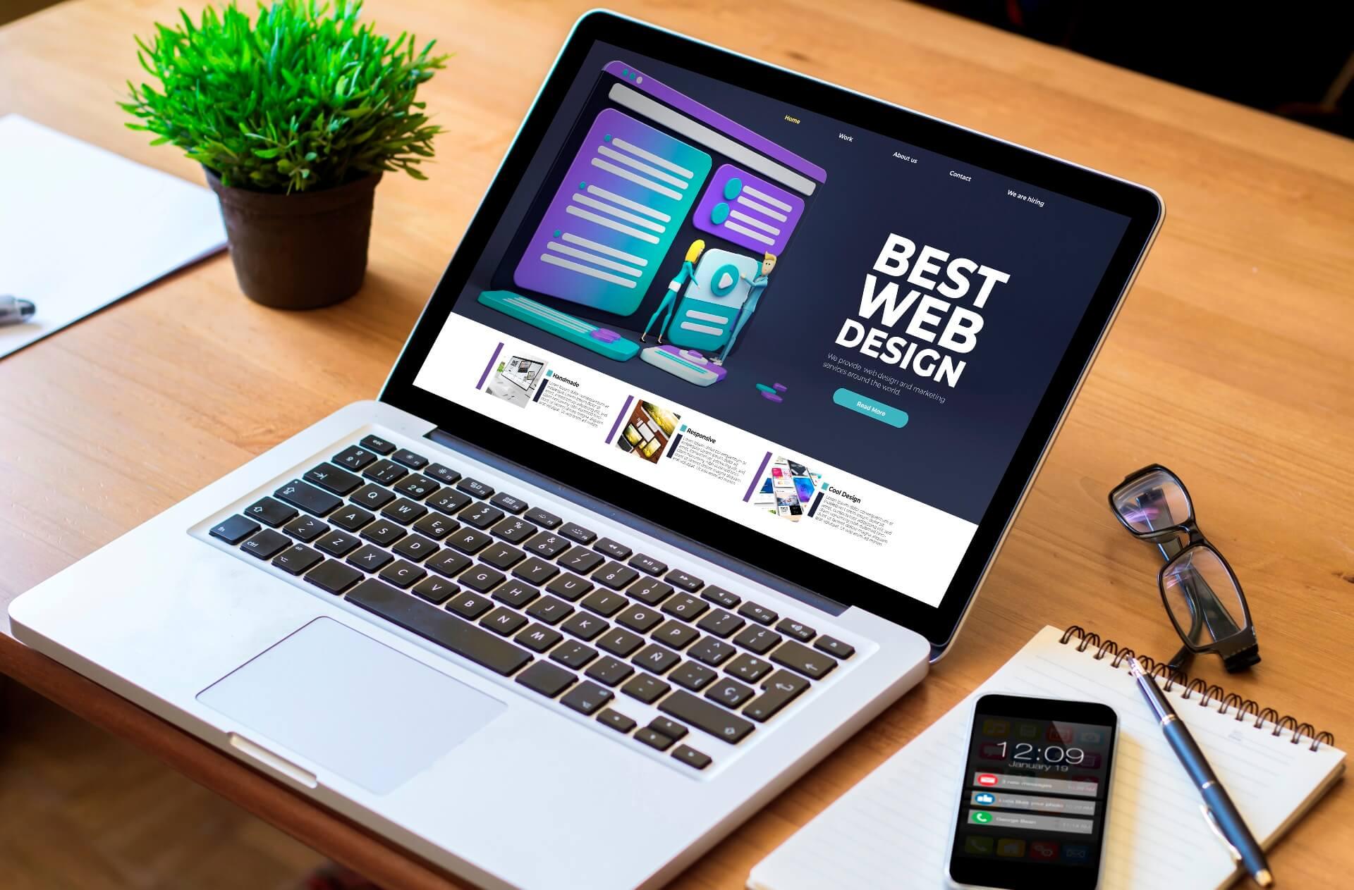 Generic webpage on a laptop screen